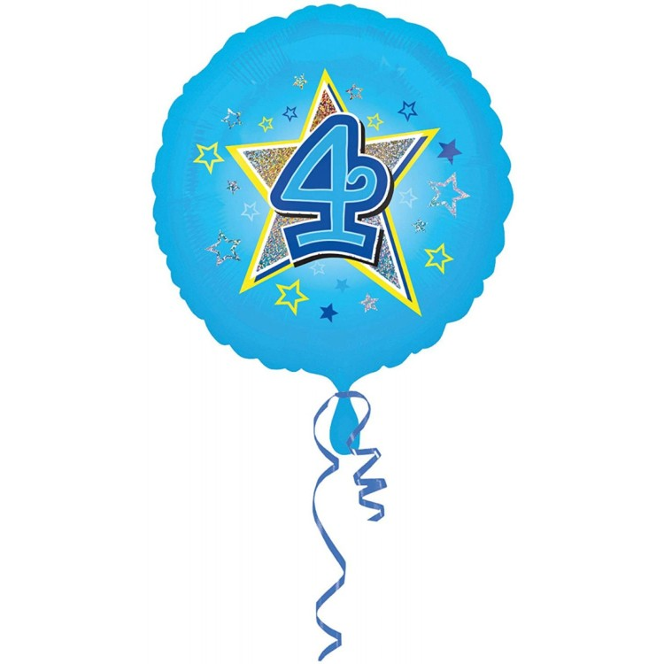 Anagram Age 4 Blue Foil Helium Balloon
