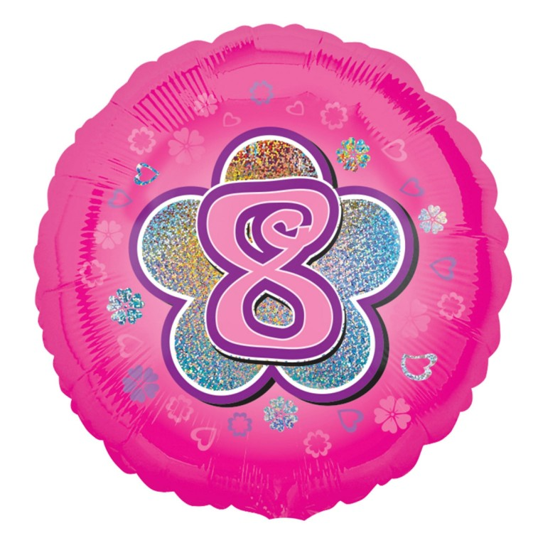 Anagram Age 8 Pink Foil Helium Balloon