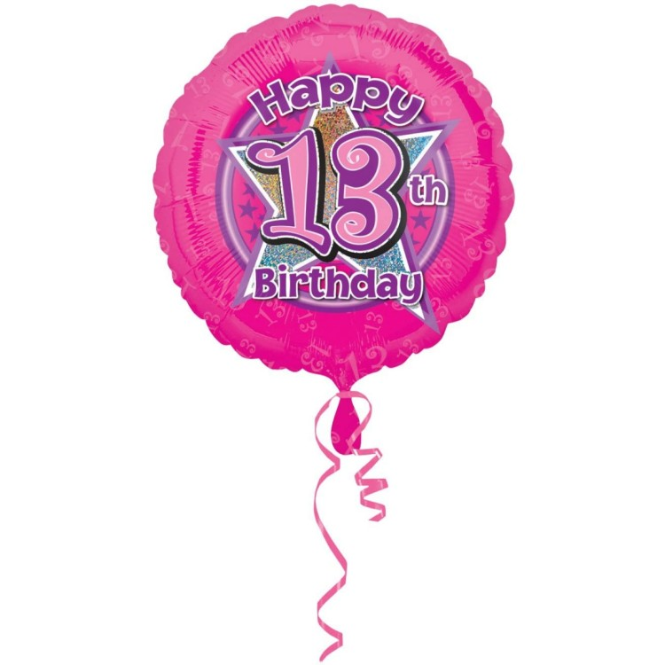 Anagram Happy 13th Birthday Pink Foil Helium Balloon