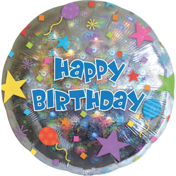 Anagram Happy Birthday Silver Foil Helium Balloon