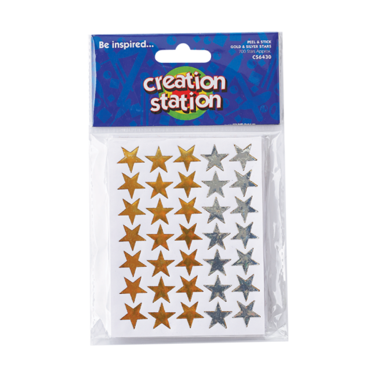 Creation Station Peel & Stick Gold & Silver Stars